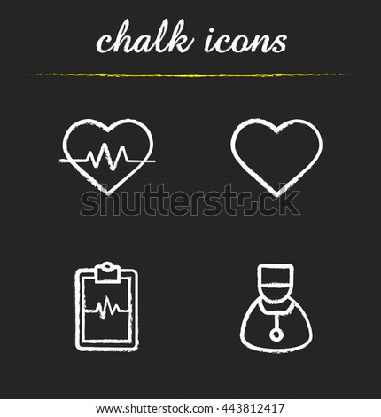 Cardiology icons set. Heart shape, cardio monitor, ecg curve and cardiologist illustrations. Isolated vector chalkboard drawings - stock vector