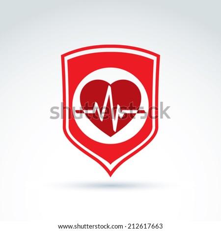 Cardiology protection heart cardiogram icon, cardio, vector conceptual stylish symbol for your design. - stock vector