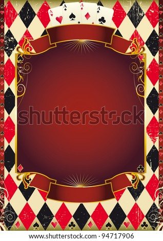 Cards background. Are you ready for the world poker tour ? A poster for a casino. - stock vector