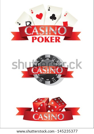 Cards Chips Dice Poker Casino - stock vector