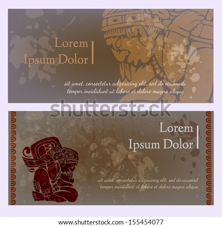 Cards or templates for design with maya mural paintings - stock vector