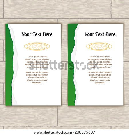 Cards with green ragged edge and gold stamping - stock vector