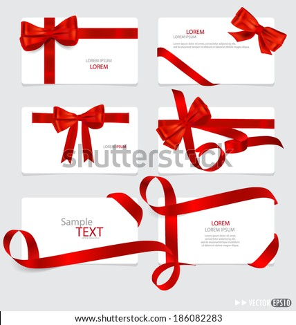 Cards with red gift bows and red ribbons. Vector illustration. - stock vector