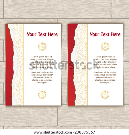 Cards with red ragged edge and gold stamping - stock vector