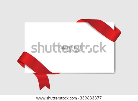 Cards with red ribbons. Vector illustration. - stock vector