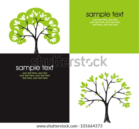 cards with stylized tree and text - stock vector