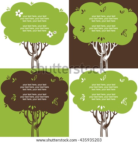 Cards with stylized trees and text - stock vector