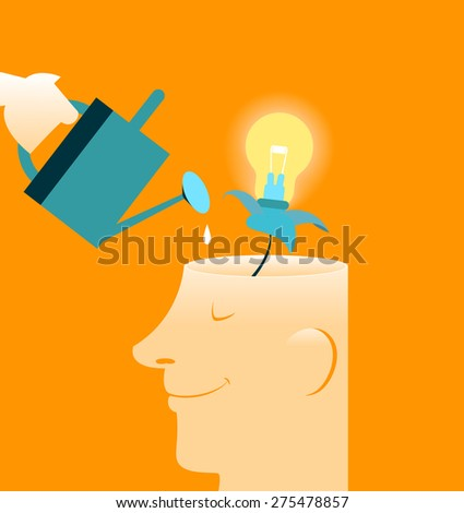 Care brain. New features. There is a growing idea. Human Brain, Contemplation - stock vector