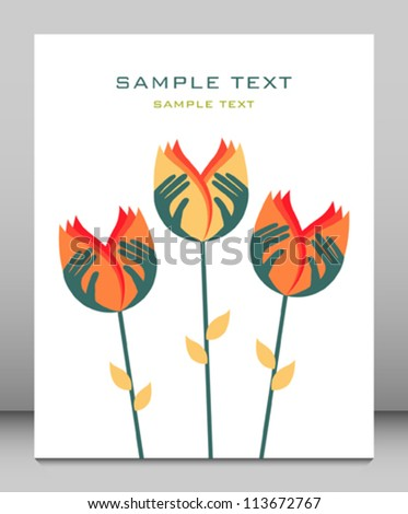 Care in nature hand flower design. - stock vector
