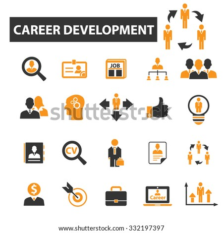 career development, employee, hr, headhunting icon & sign concept vector set for infographics, website - stock vector