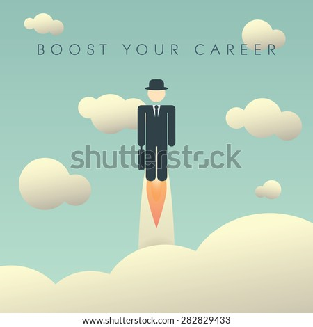 Career development poster template with businessman flying high. Climbing corporate ladder human resources background. Eps10 vector illustration. - stock vector