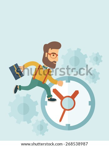 Career man with his bag chasing running clock pursuing a deadline of his report. Time management concept. A contemporary style with pastel palette, soft blue tinted background. Vector flat design - stock vector