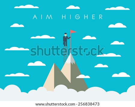 Career or business mission motivation poster, wallpaper, background. Businessman on ladder, mountain top, symbol of success. Eps10 vector illustration - stock vector