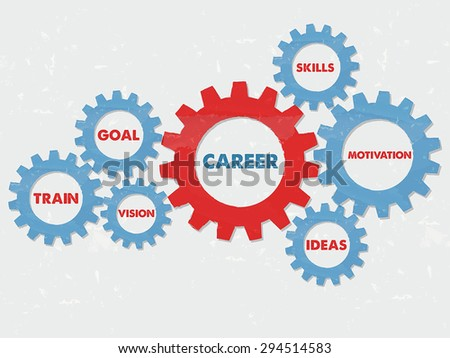 career, skills, motivation, ideas, goal, train, vision - business education concept words  - red blue text in grunge flat design gear wheels, vector - stock vector