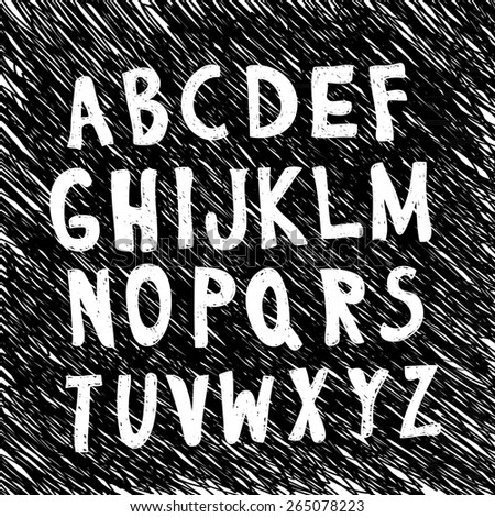 Careless sketch alphabet letters on a chaotic hand-drawn diagonal strokes and scratches. Black and white elements for grunge design. Vector illustration - stock vector