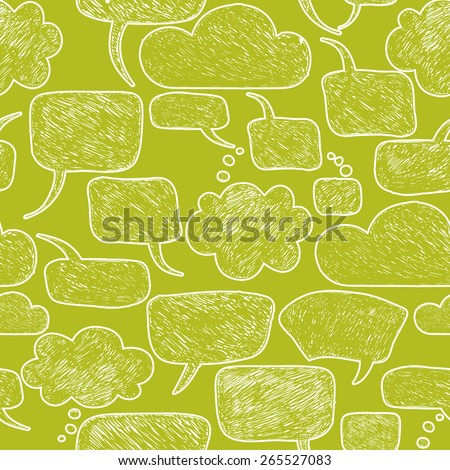 Careless speech bubble shapes on a green background. Vector illustration. Seamless pattern - stock vector