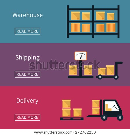 Cargo and delivery, shipping vector banner with box, frieght trucks and goods - stock vector
