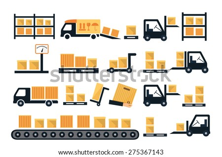 Cargo and delivery, shipping vector icons with boxes, container and freight trucks - stock vector