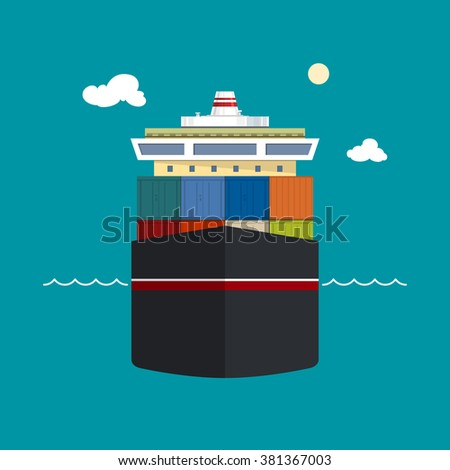 Cargo Container Ship, Front View of a Cargo Sea Vessel, Container Truck Transports Containers , Vector Illustration - stock vector