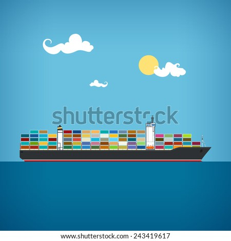 Cargo container ship transports containers at the blue ocean in a sunny day, vector illustration - stock vector