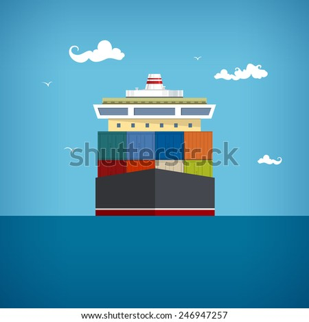 Cargo container ship transports containers at the blue ocean , vector illustration - stock vector