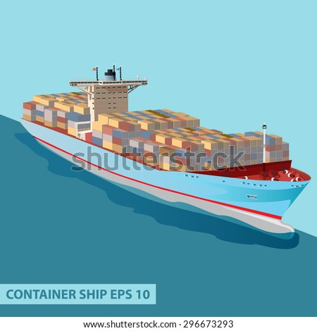 Cargo ship with containers on board. Detailed flat vector illustration can be used for web design, modern infographics and other crafts. - stock vector