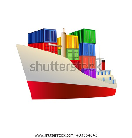 Cargo ship with containers on board. Isolated on white. Vector illustration. All objects are on separate layers. - stock vector