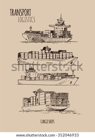 Cargo Ships. Hand drawn sketch illustration - stock vector