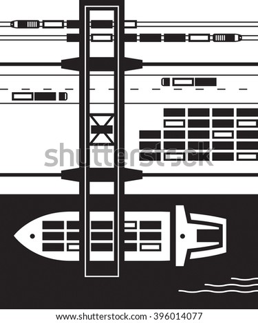 Cargo terminal from above - vector illustration - stock vector