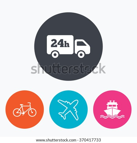 Cargo truck and shipping icons. Shipping and eco bicycle delivery signs. Transport symbols. 24h service. Circle flat buttons with icon. - stock vector