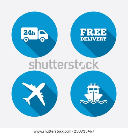 Cargo truck and shipping icons. Shipping and free delivery signs. Transport symbols. 24h service. Circle concept web buttons. Vector - stock vector