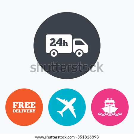 Cargo truck and shipping icons. Shipping and free delivery signs. Transport symbols. 24h service. Circle flat buttons with icon. - stock vector