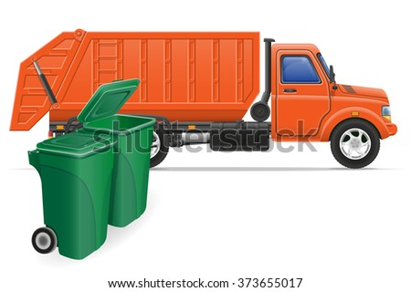 cargo truck garbage removal concept vector illustration isolated on white background - stock vector