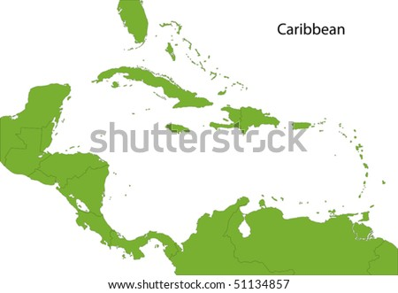Caribbean map with countries - stock vector
