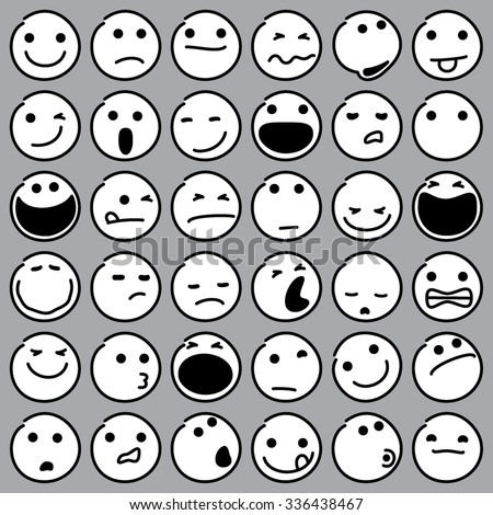 Caricature Emoticons. Vector illustration of caricature emoticons. Hand drawn thirtysix pieces set. Illustrator 8, global colors, easy edit. - stock vector