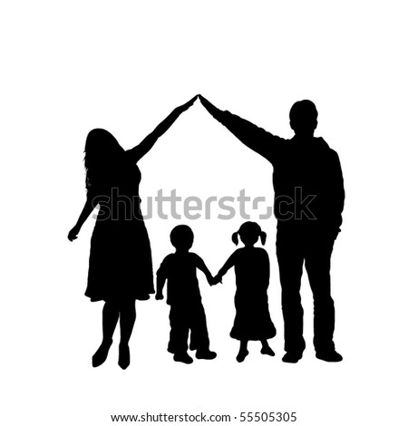 caring family silhouette - stock vector