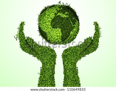 caring for the environment, arms out of the grass with a green globe. The concept of ecology - stock vector