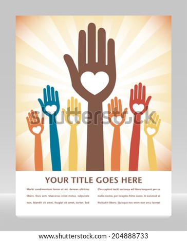 Caring loving hands design with copy space.  - stock vector