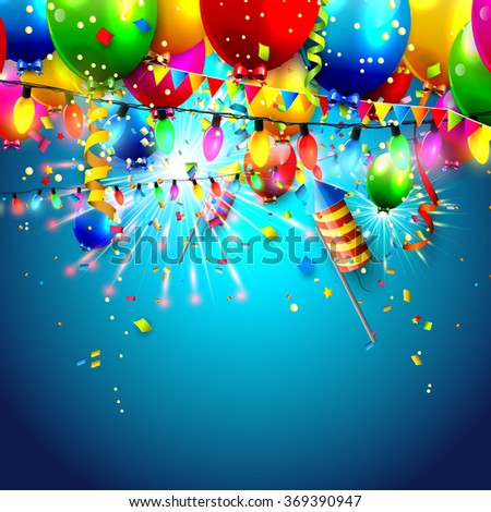 Carnival background with colorful balloons, lights and fireworks - stock vector