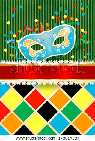 Carnival background with mask and copyspace, vector  - stock vector