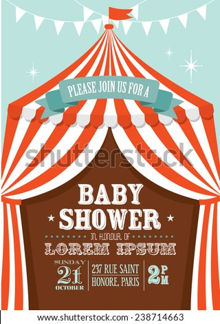 carnival/circus tent baby shower invitation card template vector/illustration - stock vector