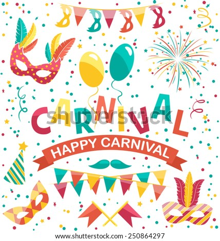 Carnival icons isolated on white background - stock vector