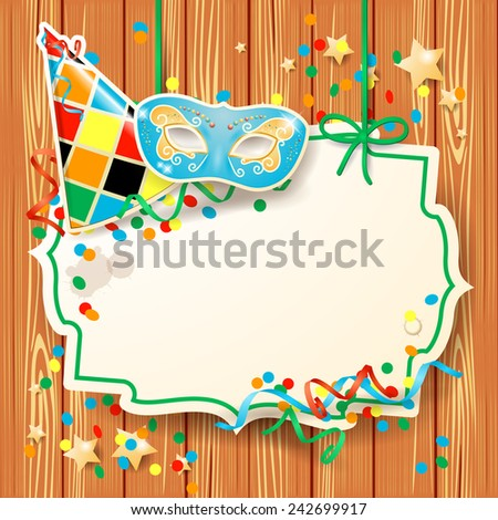 Carnival illustration with mask and hat on wooden background, vector eps10 - stock vector