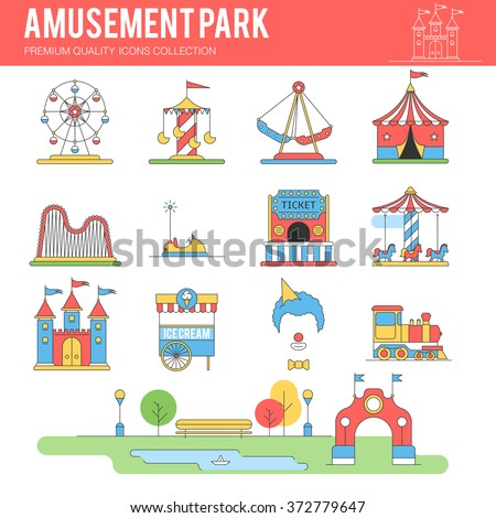 Carnival in amusement park. Landscape with a Ferris wheel, roller coaster, carousel, castle, ice cream, clown, tent. Vector illustrations flat line icon set for your design - stock vector