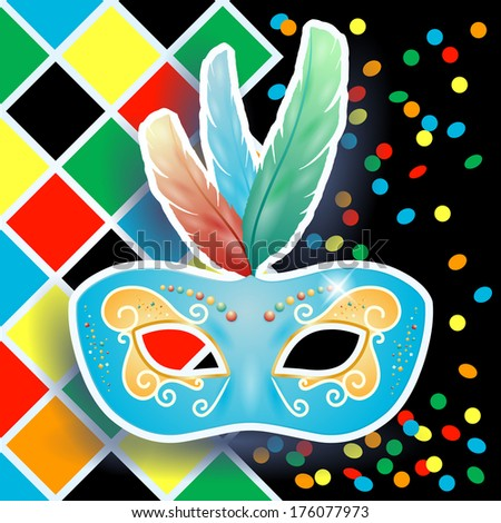Carnival mask on harlequin background, vector  - stock vector