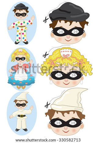 Carnival Masks for Children - stock vector