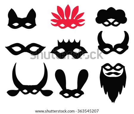 Carnival masks silhouette  set - black silhouettes. For party, carnival, Purim cards. Collection of festive vector decor elements. Bearded mask, king, donkey, devil, cat mask, venetian mask red shape. - stock vector