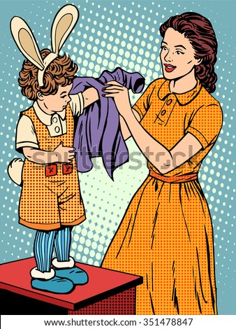 Carnival mother of the child dresses up in a Bunny costume pop art retro style. Childhood and motherhood. Cute family. The woman and the child. Love care. Clothing and costumes for the masquerade - stock vector