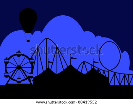 Carnival scene at night with a circus tent Ferris wheel roller coaster and hot air balloon.  Ideal for carnival signs - stock vector