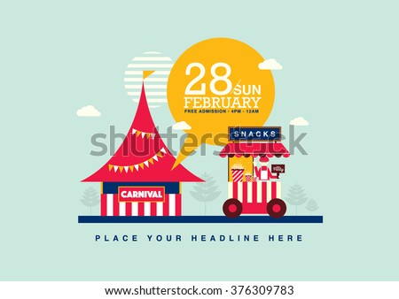 Carnival theme template design invitation/ Amusement park elements poster design/ Fun fair icons/ Popcorn cart and carnival tent/ Celebration and party theme card design - stock vector